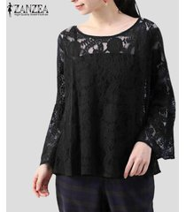zanzea verano de las mujeres suéter de la blusa tee camiseta del partido del club de playa floral sheer la tapa del cordón -negro