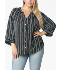 adrienne vittadini women's plus size 3/4 sleeve shirred neck button front blouse
