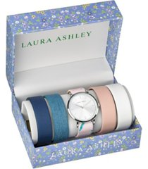 laura ashley silver slidethrough interchangeable sleek dial set watch