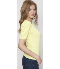 blusa ajustada manga corta amarilla 609 seisceronueve