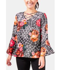 ny collection petite paisley-print bell-sleeve top