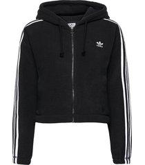 adicolor classics polar fleece full-zip hoodie w sweat-shirts & hoodies fleeces & midlayers svart adidas originals