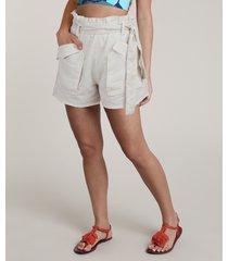short feminino salinas clochard com linho e bolsos bege claro