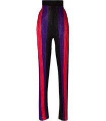 hoge taille geribbelde gestreepte broek
