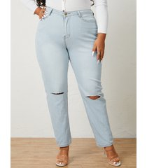 denim recortado con bolsillos laterales de talla grande pantalones