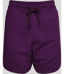 short de moletom feminino cintura alta com cordão e bolsos roxo