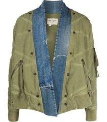 greg lauren distressed-effect military jacket - green