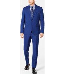 nick graham men's slim-fit stretch hot blue suit