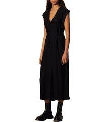 women's sandro chain link short sleeve jumpsuit, size 8 us - black