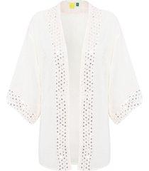kimono tecido bordado - bege
