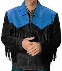 native america western cultural black blue fringe jacket coat jacket men's