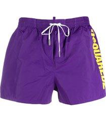 dsquared2 logo print drawstring swim shorts - purple
