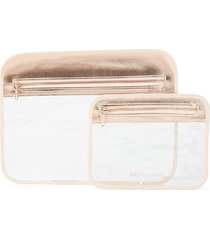 mytagalongs splash-proof 2-piece tech pouch set - rose gold