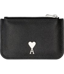 ami alexandre mattiussi pebbled calfskin card holder