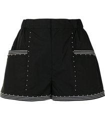 twinset studded elasticated-waist shorts - black