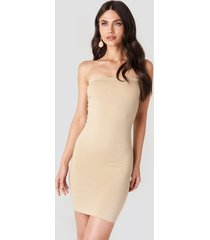 na-kd basic basic jersey bandeau dress - nude