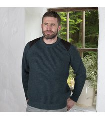 fishermans rib sweater with patches green medium
