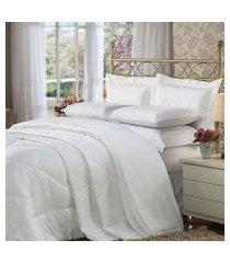 cobre leito solteiro plumasul soft touch percal 300 fios branco
