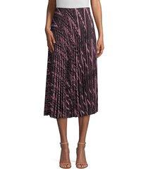 saks fifth avenue women's zigzag lurex knit pleated midi skirt - pink black - size l