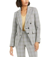 bar iii faux-double-breasted plaid blazer, created for macy's