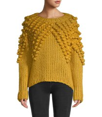 70/21 women's pom-pom roundneck sweater - mustard - size xs