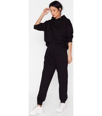 womens sorry we are late relaxed hoodie and joggers set - black