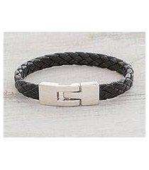 faux leather braided wristband bracelet, 'daring style' (guatemala)