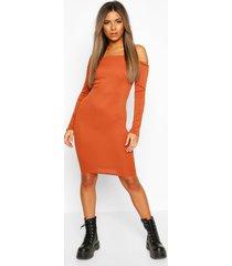 petite off the shoulder midi dress, rust