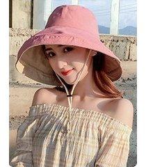 sombrero de sol sólido de verano para mujer de doble cara rosa