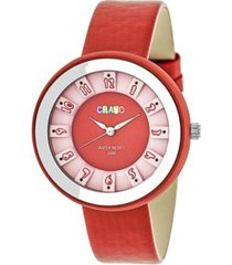 crayo unisex celebration red genuine leather strap watch 38mm