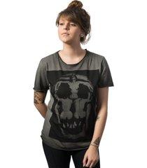 camiseta skull lab skull  corps corte a  fio cinza - kanui
