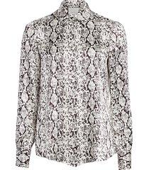 cinq à sept women's isha python-print silk shirt - gardenia multi - size s