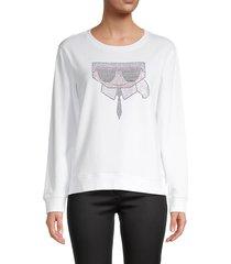 karl lagerfeld paris women's sequined logo cotton-blend sweater - white - size s