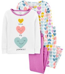 carter's baby girl 4-piece heart snug fit cotton pjs