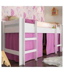 cama elevada com escada e espaço para brincar rosa lilies