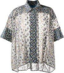 antonio marras geometric flared short-sleeve blouse - black