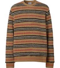 burberry icon stripe fleece sweatshirt - brown