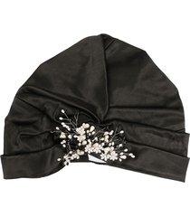 maryjane claverol sabrosa embellished turban hat - black