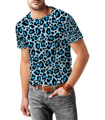 leopard print bright blue mens cotton blend t-shirt