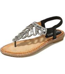 sandalias con cuentas de tacón bajo sandalias de playa cómodas de las