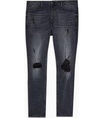 mens blue black ripped stretch skinny jeans