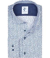 r2 overhemd blauw wit geprint