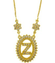 colar horus import letra z zircônia banhado ouro 18k feminino