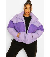 plus gewatteerde colour block jas met lus, lilac