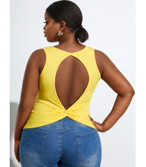 yoins plus talla twist backless diseño camiseta sin mangas sin mangas