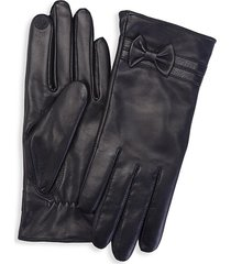 royce new york women's bow touchscreen leather gloves - black - size l