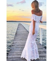 new women's off shoulder flounce mermaid floor length evening wedding dress sp12