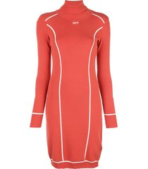 off-white logo turtleneck fitted dress - red