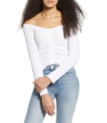 women's bp. off the shoulder long sleeve smocked top, size small - white