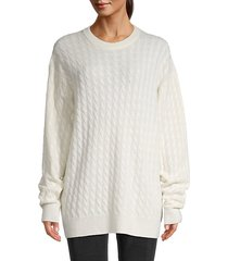 cable-knit cashmere & silk-blend sweater